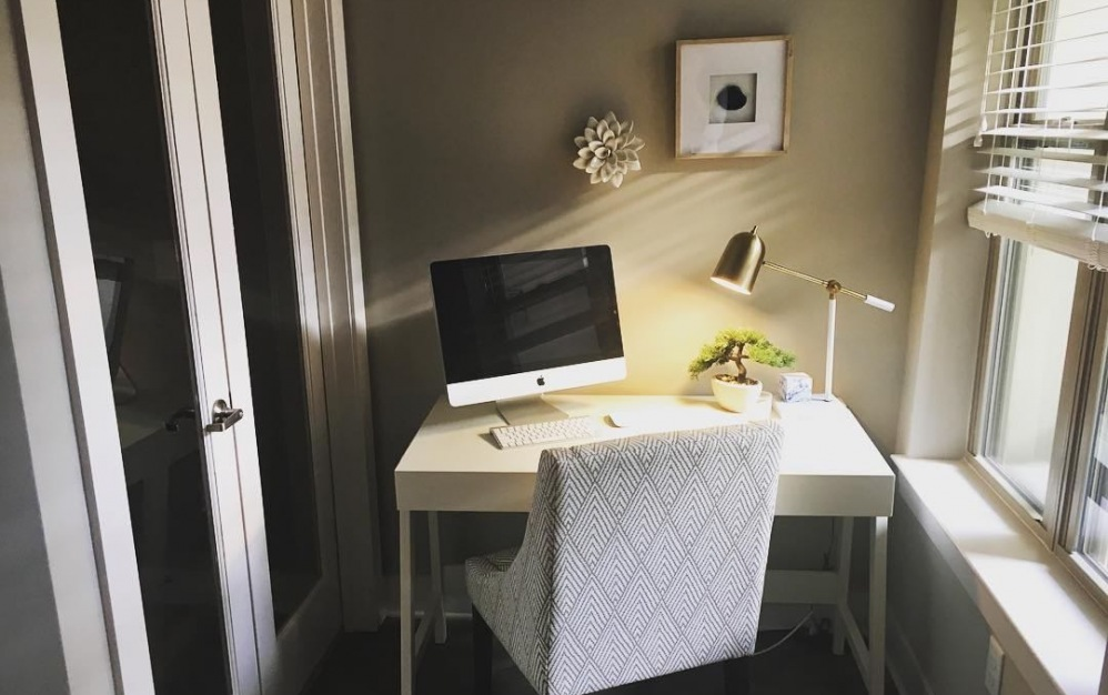 Charming private nook area for work from home office with natural sunlight