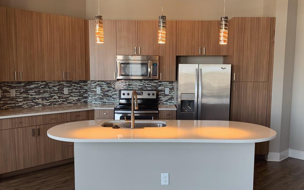 Luxury One Bedroom Apartment Kitchen with Stainless Appliances and Quartz Countertops
