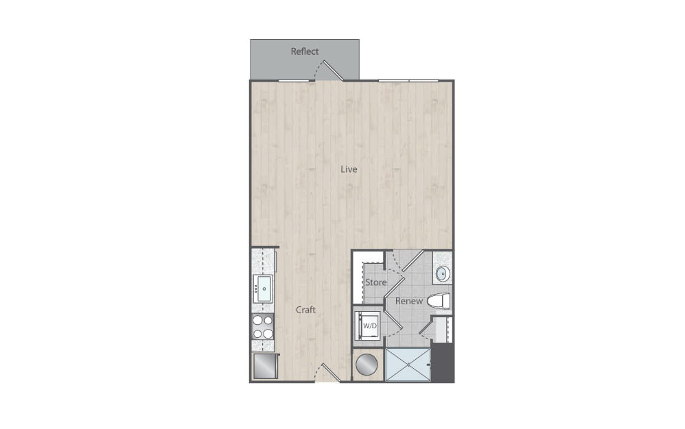 A1 - Studio floorplan layout with 1 bath and 594 square feet. (Floorplan)