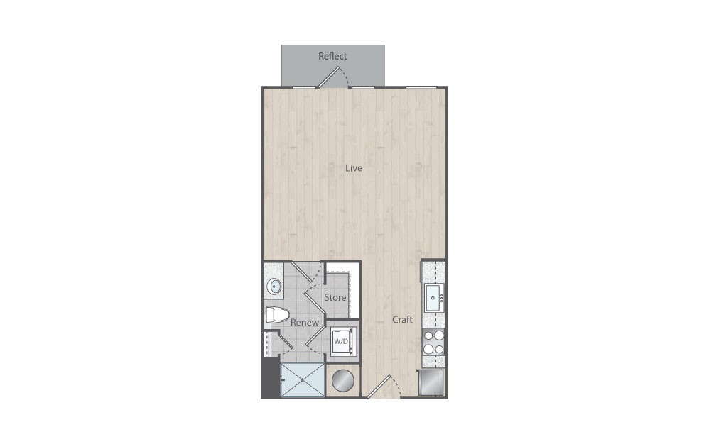 A2 - Studio floorplan layout with 1 bath and 594 square feet.