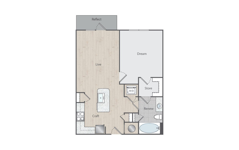 B1-1 - 1 bedroom floorplan layout with 1 bath and 750 square feet.