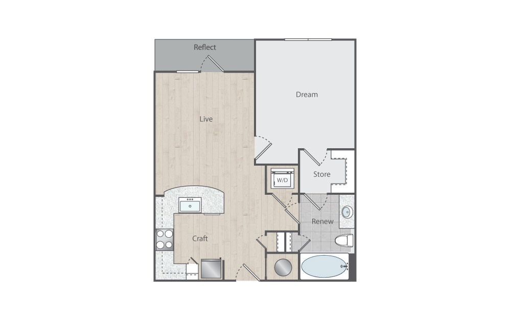 B1-2 - 1 bedroom floorplan layout with 1 bath and 702 square feet. (Floorplan)
