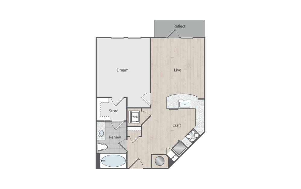 B1-3 - 1 bedroom floorplan layout with 1 bath and 711 square feet.