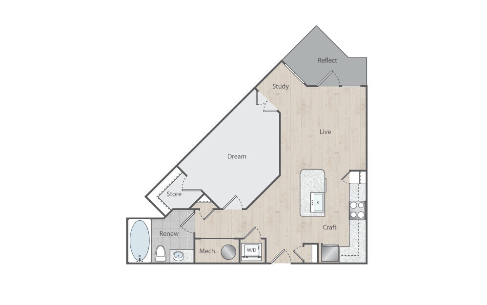 B2 - 1 bedroom floorplan layout with 1 bath and 708 square feet.
