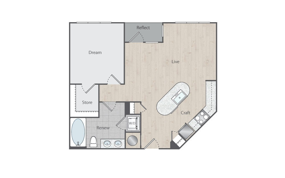 B3 - 1 bedroom floorplan layout with 1 bath and 755 square feet.