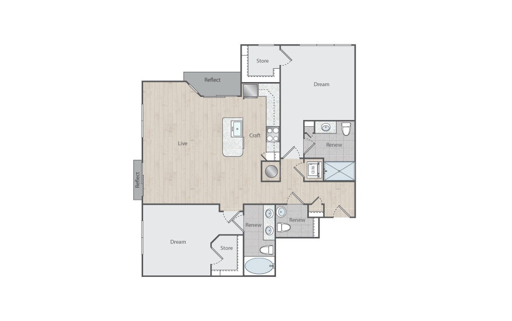 C2-1 - 2 bedroom floorplan layout with 2 baths and 1236 square feet. (Floorplan)