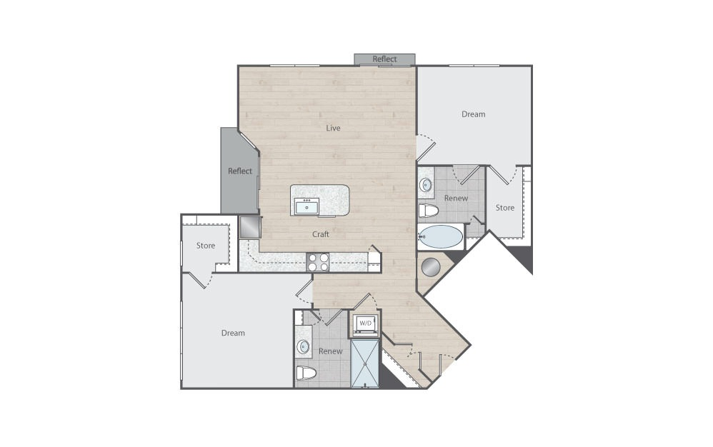 C2-2 - 2 bedroom floorplan layout with 2 baths and 1199 square feet.