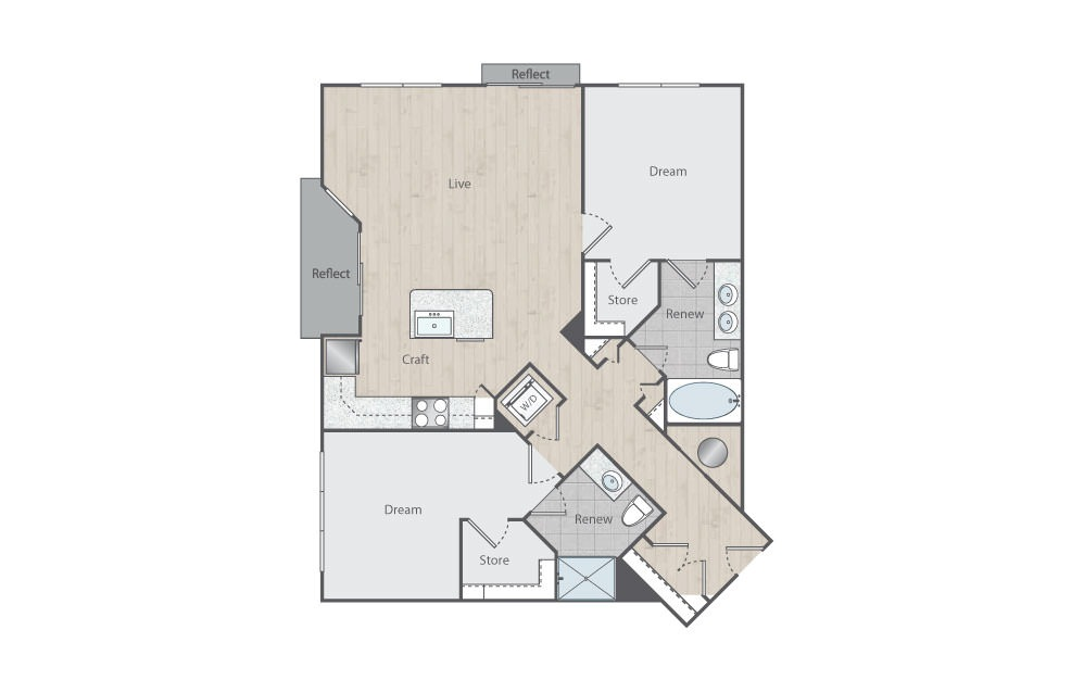 C2-3 - 2 bedroom floorplan layout with 2 baths and 1119 square feet.