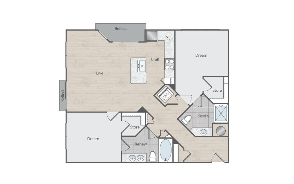 C2 - 2 bedroom floorplan layout with 2 baths and 1093 square feet.